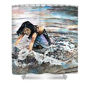 Polynesian Child Playing With Water Shower Curtain