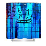 Polynesian Graffiti  Shower Curtain by Karon Melillo DeVega