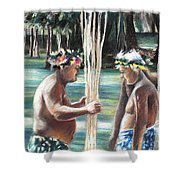 Polynesian Men With Spears Shower Curtain