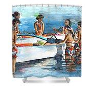 Polynesian Vahines Around Canoe Shower Curtain