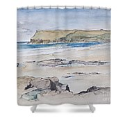 Polzeath And Pentire Head Shower Curtain