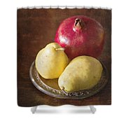 Pomegranate And Yellow Pear Still Life Shower Curtain