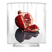 Pomegranate Opened Up On Reflective Surface Shower Curtain
