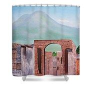 Pompeii And Vesuvius   Shower Curtain