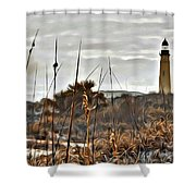 Ponce Inlet Lighthouse From The Dunes Shower Curtain