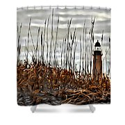 Ponce Inlet Lighthouse In Sea Grass Shower Curtain