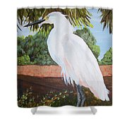 Ponce Point Egret Shower Curtain