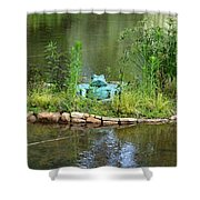 Pond Frog Shower Curtain