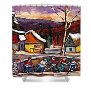 Pond Hockey Birch Tree And Mountain Shower Curtain