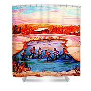 Pond Hockey Game By Montreal Hockey Artist Carole Spandau Shower Curtain