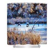 Pond Hockey - Painterly Shower Curtain