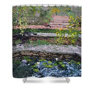 Pond In The English Walled Gardens Shower Curtain