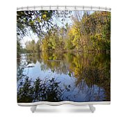 Pond Reflection At Limehouse Ontario Shower Curtain