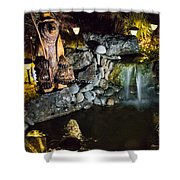 Pond Waterfall And Chuck The Bear Shower Curtain
