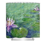 Green Pond With Water Lily Shower Curtain