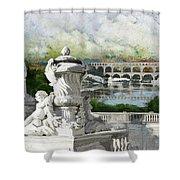 Pont Du Gard Roman Aqueduct Shower Curtain