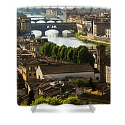 Ponte Vecchio Late Afternoon Shower Curtain by Jon Berghoff