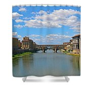 Ponte Vecchio Over The Arno River At Florence Italy Shower Curtain
