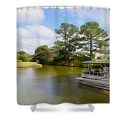 Pontoon Boat Ride On The Lake Shower Curtain
