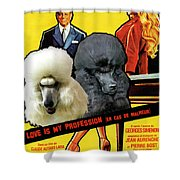 Poodle Standard Art - Love Is My Profession Movie Poster Shower Curtain