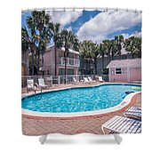 Pool And Cottages Shower Curtain