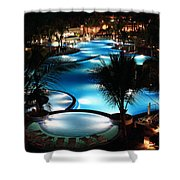 Pool At Night Shower Curtain