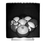 Pool Balls In Black And White Shower Curtain