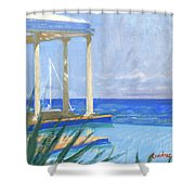 Pool Cabana Morning Shower Curtain