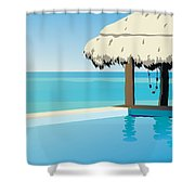 Pool On The Ocean Shower Curtain