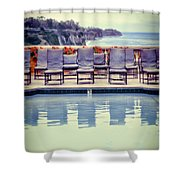Pool With Views Of The Ocean Shower Curtain