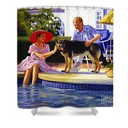 Poolside Thistle Down Shower Curtain