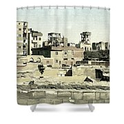 Poor Suburb Of The City Oil Painting On Burlap Shower Curtain
