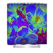 Pop Art Blue Crocuses Shower Curtain
