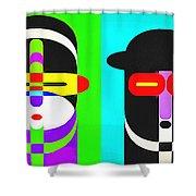 Pop Art People 4 Row Shower Curtain