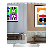 Pop Art People On The Wall Shower Curtain