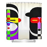 Pop Art People Row White Background Shower Curtain