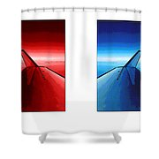 Red Blue Jet Pop Art Planes  Shower Curtain