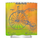 Pop Art Velocipede Patent Shower Curtain