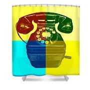 Pop Art Vintage Telephone 1 Shower Curtain