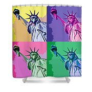 Pop Liberty Shower Curtain by Delphimages Photo Creations