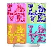 Pop Love Collage Shower Curtain