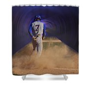 Pop Slide At Third Base Shower Curtain by Thomas Woolworth