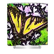 Popart Butterfly Redux Shower Curtain