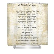 Pope Francis St. Francis Simple Prayer Butterflies Shower Curtain by Desiderata Gallery