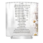 Pope Francis St. Francis Simple Prayer Daisies Shower Curtain by Desiderata Gallery