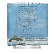 Pope Francis St. Francis Simple Prayer Dolphins Tking A Leap Of Faith Shower Curtain by Desiderata Gallery