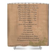 Pope Francis St. Francis Simple Prayer Organic Peace Leaves Shower Curtain by Desiderata Gallery