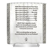 Pope Francis St. Francis Simple Prayer Parched Leaf Shower Curtain by Desiderata Gallery