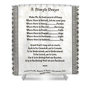 Pope Francis St. Francis Simple Prayer Peace On Parchment Shower Curtain