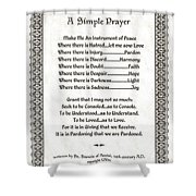 Pope Francis St. Francis Simple Prayer Pray For Peace On Parchment Shower Curtain by Desiderata Gallery